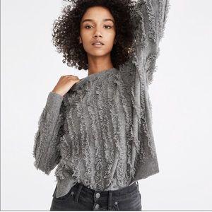 Madewell Fringe Stripe Grey Crewneck Pullover Wool